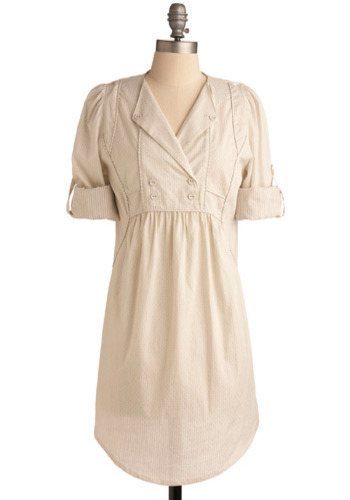 Friend Me Dress - White, Solid, Buttons, Casual, Shirt Dress, 3/4 Sleeve, Mid-length
