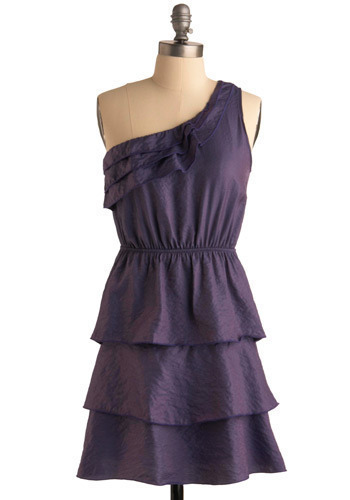 Polished in Plum Dress - Purple, Solid, Ruffles, Tiered, A-line, One Shoulder, Short