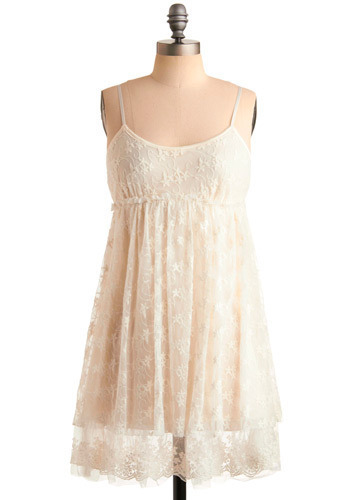 Snow Place Like Home Dress - White, Floral, Lace, Casual, Empire, Tank top (2 thick straps), Show On Featured Sale, Mid-length