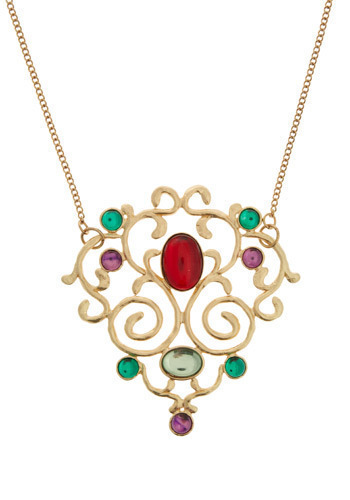 Gemstone Treasure Necklace - Gold, Red, Green, Purple, Casual, Luxe, Statement