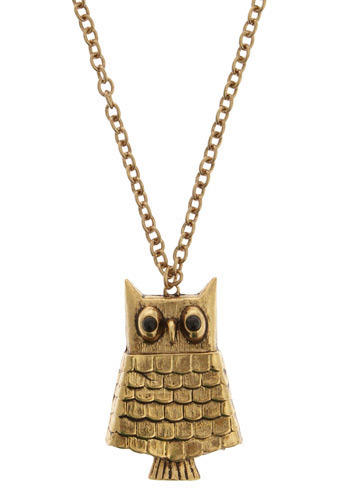 Get Wise Necklace - Gold, Casual, Vintage Inspired, 70s, Owls