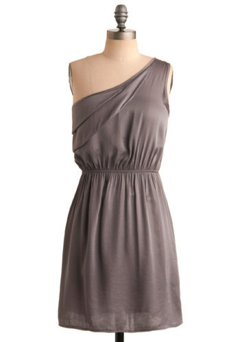 Pewter Than Ever Dress - Grey, Solid, Special Occasion, Wedding, Party, A-line, One Shoulder, Short