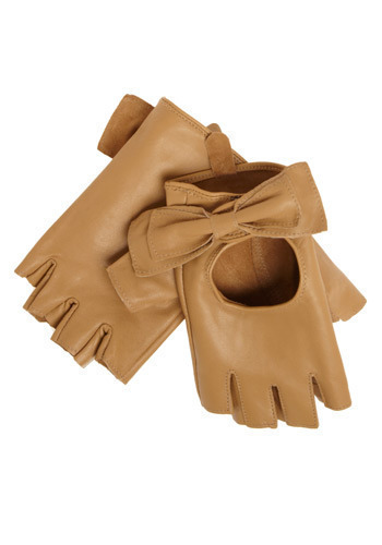 Leisurely Drive Glovelettes - Tan, Solid, Bows, Cutout, Casual, Luxe, Fall, Winter