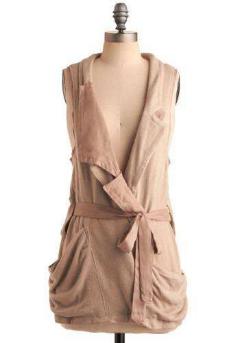 Fully Vest-ed - Brown, Cream, Solid, Casual, Sleeveless