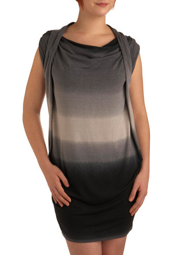 No Extent Dress - Black, Grey, Casual, Sheath / Shift, Cap Sleeves, Fall, Winter, Short