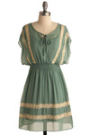 Refresh Mint Dress - Green, Tan / Cream, Lace, Casual, A-line, Short Sleeves, Short