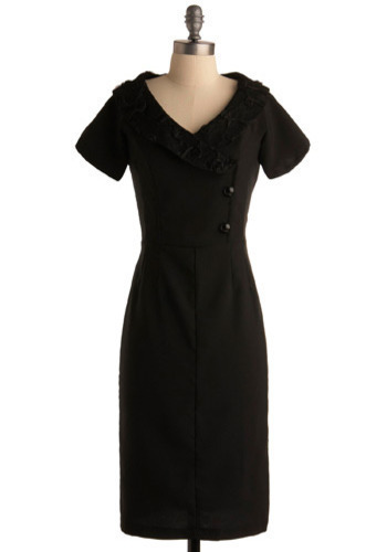Moon Blooms Dress - Black, Solid, Buttons, Flower, Lace, Formal, Party, Work, Sheath / Shift, Short Sleeves, Long