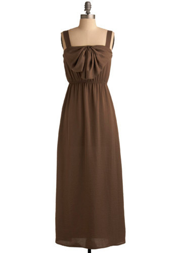 Drape Escape Dress - Brown, Solid, Bows, Casual, Maxi, Spaghetti Straps, Tank top (2 thick straps), Long