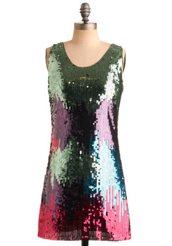 Sequined to None Dress - Sequins, Party, Shift, Sleeveless, Multi, Green, Blue, Purple, Pink, Short