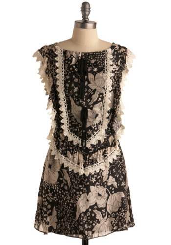 Painting Porcelain Dress - Black, White, Floral, Bows, Lace, Trim, Party, Casual, A-line, Sleeveless, Short