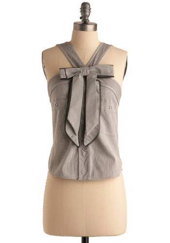 Well-Conducted Top - Grey, White, Stripes, Bows, Casual, Halter, Spring, Summer, Mid-length
