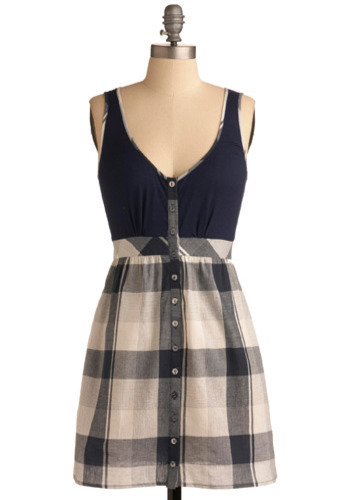 Pleasant in Plaid Dress - Blue, Grey, White, Plaid, Casual, A-line, Twofer, Tank top (2 thick straps), Short