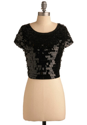 Why, Hello There Top - Black, Solid, Sequins, Party, Casual, Short Sleeves, Spring, Fall