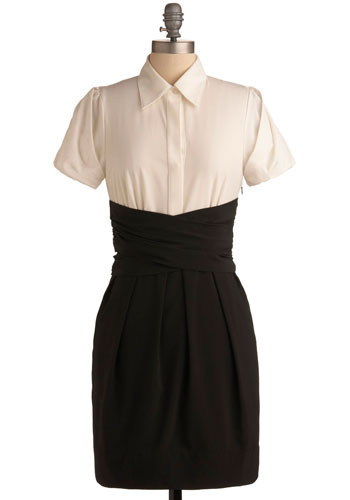 Law Review Dress - Black, White, Buttons, Pleats, Pockets, Special Occasion, Party, Work, Casual, Shift, Shirt Dress, Twofer, Short Sleeves, Mid-length