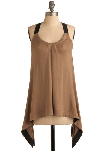 Iso-Taupe Top - Tan, Black, Formal, Racerback, Long