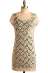 Herbal Tea Tunic - Cream, Floral, Lace, Pockets, Casual, Short Sleeves, Spring, Summer, Long
