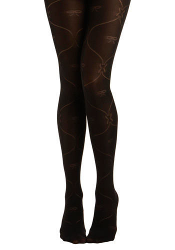 Bows My Mind Tights - Black, Cutout, Casual