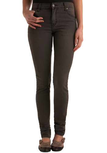 "Lean on Me Jeans in Long (34"") by Cheap Monday - Grey, Solid, Pockets, Casual, Spring, Fall, Winter, Denim"