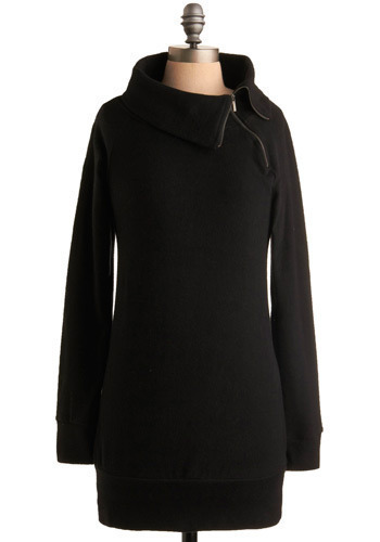 Ski Lift Tunic in Chalet - Black, Solid, Exposed zipper, Casual, Long Sleeve, Fall, Winter, Long