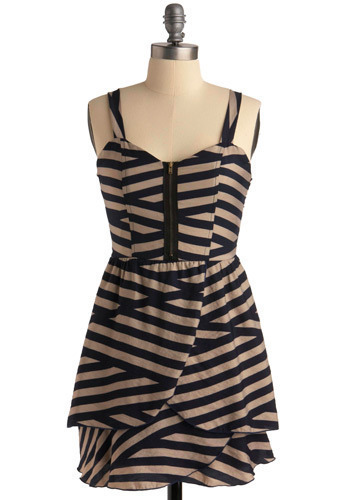 Number One Fan Dress - Blue, Tan, Stripes, Exposed zipper, Casual, A-line, Spaghetti Straps, Short