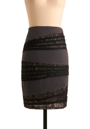 Nine to Nine Skirt - Grey, Black, Lace, Party, Work, Shift, Mid-length