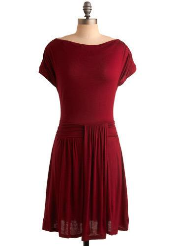 Ruby Romance Dress - Red, Solid, Party, Casual, A-line, Short Sleeves, Mid-length