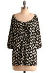 Fleet of Foxes Tunic - Cream, Black, Print with Animals, Casual, 3/4 Sleeve, Long