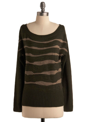 Expressionist Landscape Sweater - Brown, Black, Stripes, Casual, Long Sleeve, Fall, Winter, Mid-length