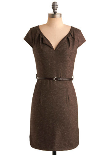 Work It Girl Dress - Brown, Solid, Pleats, Work, Casual, Shift, Cap Sleeves, Fall, Winter, Mid-length