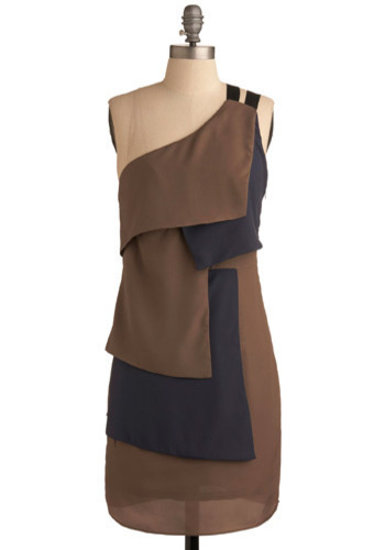 Down the Block Dress - Blue, Brown, Tiered, Special Occasion, Party, Casual, Shift, Tank top (2 thick straps), One Shoulder, Mid-length