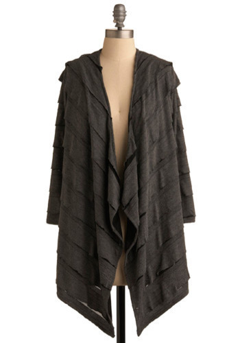 Shadowy Layer Cardigan - Grey, Black, Stripes, Ruffles, Tiered, Casual, Long Sleeve, Fall, Winter, Long