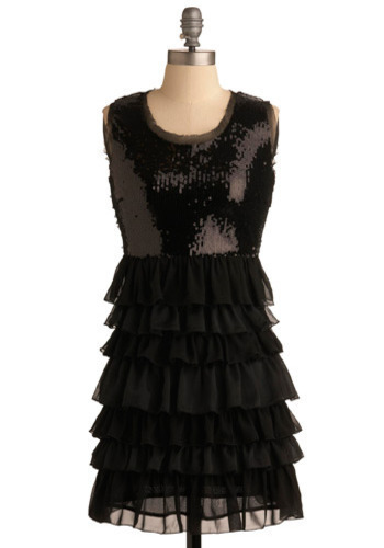 A Cheerful Sip Dress - Black, Solid, Cutout, Ruffles, Sequins, Formal, Wedding, Party, Casual, Empire, Short