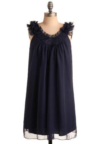 Starlight Serenade Dress - Blue, Solid, Lace, Sequins, Casual, Tent / Trapeze, Tank top (2 thick straps), Mid-length