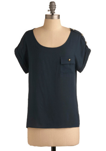 Weekend Morning Top - Blue, Solid, Pockets, Casual, Short Sleeves, Mid-length