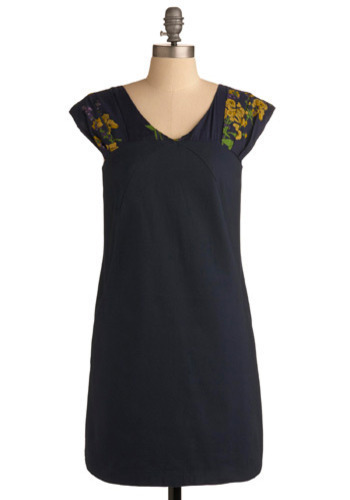 Kick Back & Relax Dress by Emily and Fin - Blue, Yellow, Green, Purple, Floral, Casual, A-line, Cap Sleeves, Spring, Summer, Mid-length, International Designer