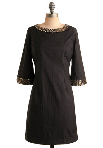 In Vogue Dress - Black, Silver, Gold, Beads, Wedding, Party, Shift, 3/4 Sleeve, Mid-length