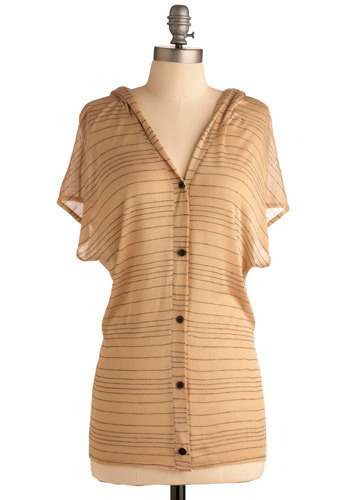 Butter Me Up Top - Cream, Black, Stripes, Buttons, Casual, Short Sleeves, Mid-length