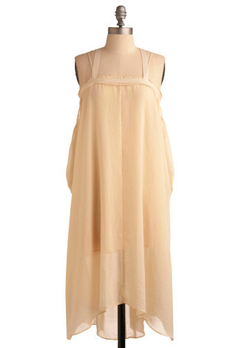 Reviving Venus Dress - Cream, Solid, Casual, Spaghetti Straps, Mid-length