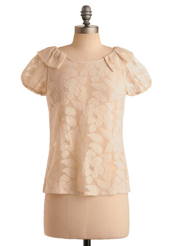 Lace Embrace Top - Cream, Floral, Wedding, Party, Short Sleeves, Mid-length