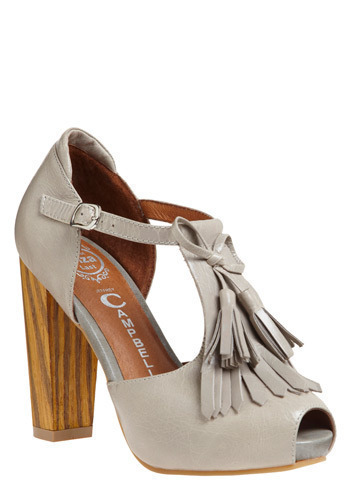 Eye in the Sky Heel by Jeffrey Campbell - Grey, Bows, Cutout, Fringed, Tassels, Party, Work, Casual, Spring, Summer, Fall, High, Best, Platform, Chunky heel, T-Strap