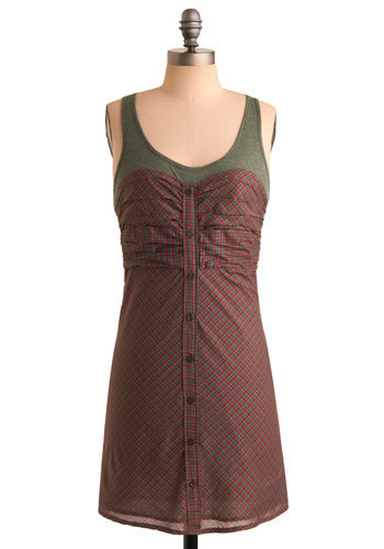 Early Weekend Dress - Red, Green, Grey, Plaid, Casual, A-line, Tank top (2 thick straps), Short