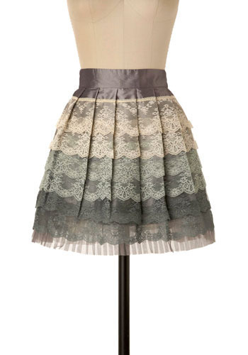 The Chantilly Grace Skirt - Green, Cream, Grey, Lace, Pleats, Scallops, Tiered, Trim, Wedding, Party, Casual, Mini, Spring, Summer, Short