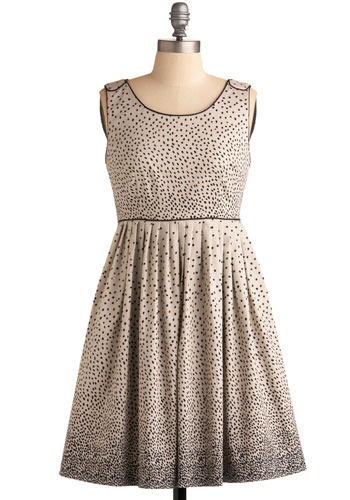 Sprinkled with Sweetness Dress in Cream by Darling - Cream, Black, Polka Dots, Pleats, Party, Vintage Inspired, A-line, Sleeveless, Mid-length, Print