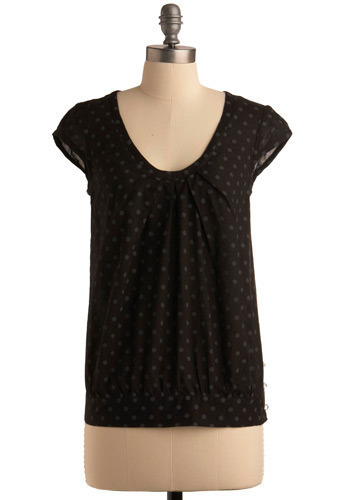Good Deeds Top by Emily and Fin - Black, Grey, Polka Dots, Buttons, Casual, Cap Sleeves, Mid-length, International Designer