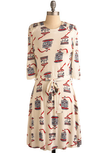 Life's a Carousel Dress - Cream, Red, Blue, Casual, A-line, 3/4 Sleeve, Mid-length