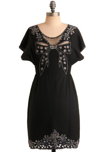 Loved and Adorned Dress by Sugarhill Boutique - Black, Multi, Silver, Solid, Cutout, Embroidery, Party, Casual, Empire, Sheath / Shift, Short Sleeves, Mid-length, International Designer