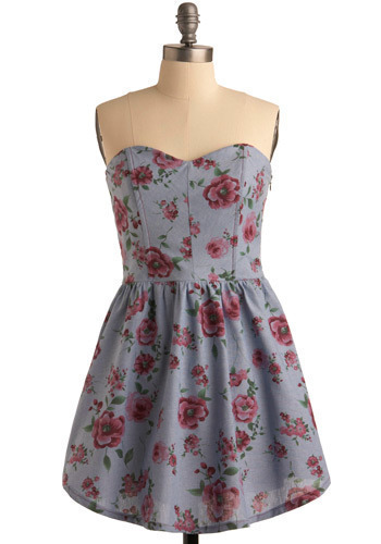 Sweet Tea Sweetie Dress - Blue, Green, Pink, Floral, Casual, A-line, Strapless, Spring, Summer, Short