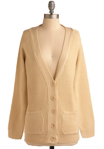 Playing Card-igan - Cream, Solid, Buttons, Knitted, Pockets, Work, Casual, Long Sleeve, Fall, Winter, Mid-length
