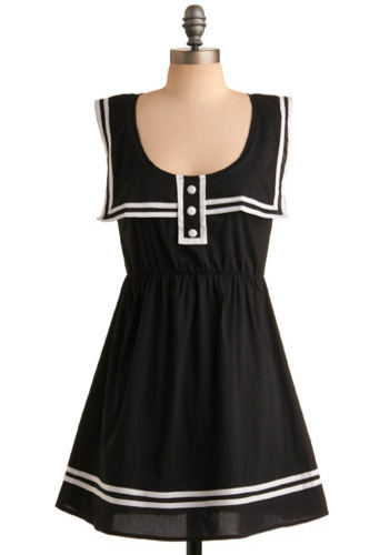 Send-Off Kiss Dress - Black, White, Solid, Buttons, Trim, Casual, Nautical, A-line, Sleeveless, Short, International Designer