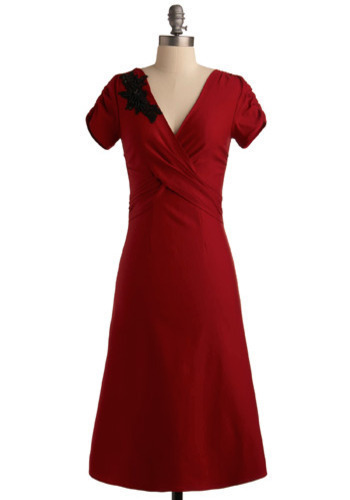 Ilsa Dress by Stop Staring! - Red, Black, Solid, Flower, Formal, Wedding, Party, Vintage Inspired, 40s, Luxe, A-line, Short Sleeves, Long